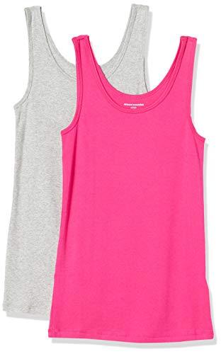 Amazon Essentials 2-Pack Slim-fit Tank Camisa, Rosa Brillante/Gris Jaspeado, S