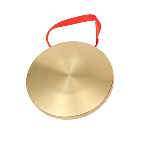 Bronce Chau gongs, Mano Gong platillos de latón de cobre Capilla Opera percusión Instrumentos, cobre chinos Feng Gong con batidor de madera (Size : 42cm/16.5inch)