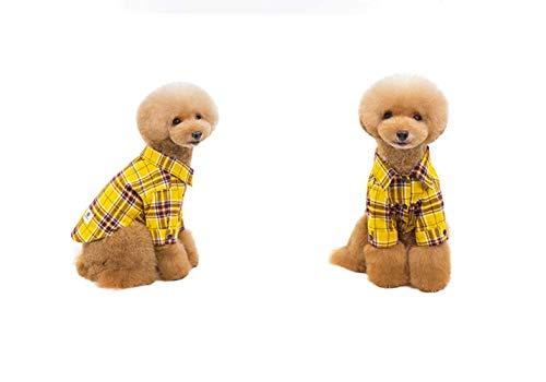 GBY Huisdierkleding, hondenkleding, eenvoudige mantel van de kleine hond, casual geruite overhemdkleding, kleine hondenkleding van de teddybeerpop, hondenkat, Small, geel