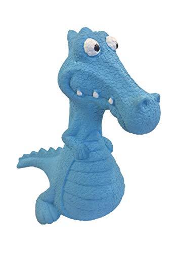 Calapet Hunde Kaus- und Quietschspielzeug aus Gummi/TPE (Blau, Dinosaurier)