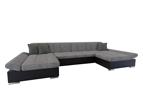 Mirjan24 Ecksofa Alia mit Regulierbare Armlehnen, 2 Bettkasten und Schlaffunktion, U-Form Eckcouch vom Hersteller, Sofa Couch Wohnlandschaft (Soft 011 + Lux 05 + Lux 06)