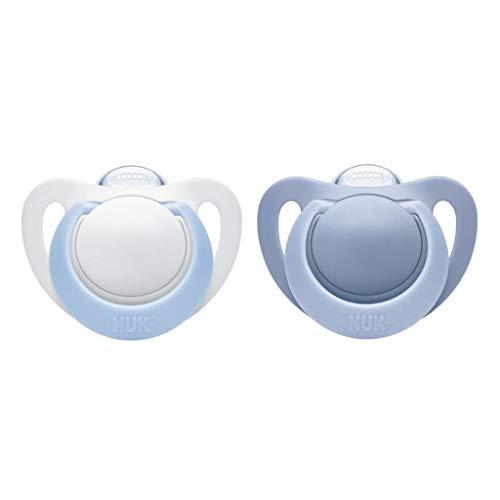 NUK Genius Silicone fopspeen voor delicate pasgeborenen, 2 stuks 0-6 maanden. 0-6 Maanden blau/weiß