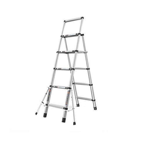 ZCF Scala telescopica Lega di Alluminio Telescopica Scala, Folding Extension Ladder A-Frame Con Stabilizzatore Bar, Multi Purpose (Capacità di Carico 150 Kg) (Size : 5-step ladder)