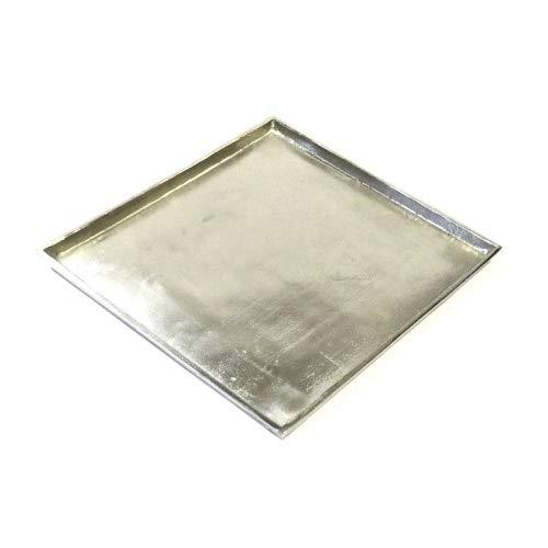 Colmore Tablett Untersetzer Teller Kerzentablett Silber Metall Modern Quadrat 30 cm