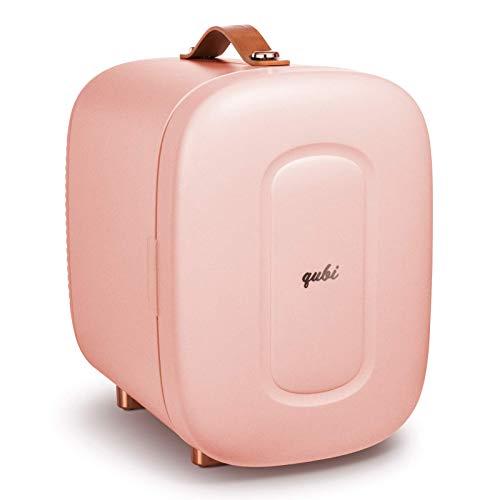 QUBI Mini Fridge, Professional Skincare Fridge, Mini Cosmetics Makeup Fridge, Compact Fridge 5 Liter (Pink, 5L)