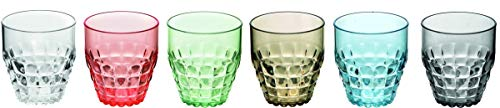 Fratelli Guzzini 22570252 vaso de agua Multicolor 6 pieza(s) 350 ml - Vasos de agua (Multicolor, Metacrilato de metilo y estireno (SMMA), 6 pieza(s), Alrededor, Tiffany, Pio&Tito Toso)