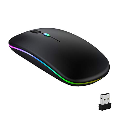GeekerChip Maus kabellos,Wireless Mouse,LED Wiederaufladbar Bluetooth Maus(Bluetooth 5.1+2.4G Wireless) ultradünn/Silent Funk Maus(800-1200-1600) für PC MacBook,Laptops,Tablet(Schwarz)