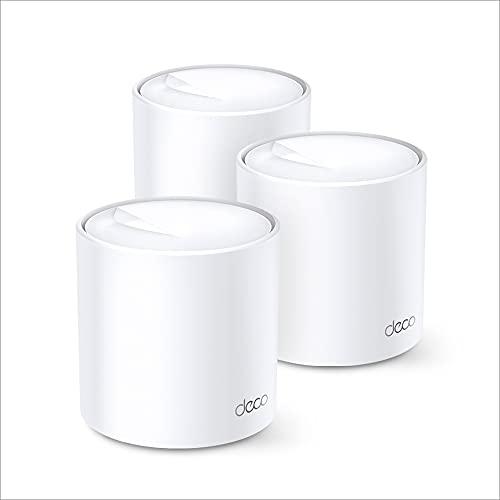 TP-Link Deco X60 AX3000 Wi-Fi 6 WLAN Mesh Set (Dualband 3000Mbit/s, Reichweite bis zu 650m², 6xGigabit-Ports, ohne Ladenzeiten, kompatibel mit Amazon Alexa, Schnellinstallation, Homecare, 3Pack) weiß