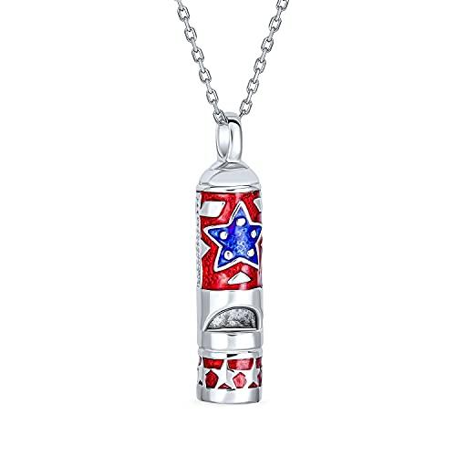 Bling Jewelry Rescate señalando Supervivencia Rojo Azul Esmalte Todo Estados Unidos Estrella patriótica Alerta Silbato Colgante Collar para Hombres Adolescentes Mujeres Plateadas