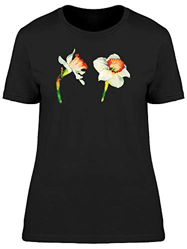 Camiseta feminina com flores de narciso, Preto, XG