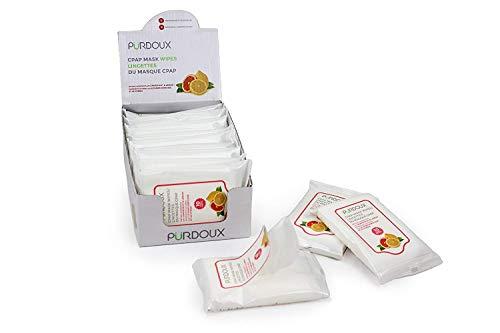 PÜRDOUX CPAP Maske Wipes mit Grapefruit Zitronenduft (Box von insgesamt 120 Feuchttüchern in 12 wiederverschließbaren Beuteln, 10 Tücher pro Beutel)