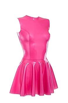 Latex Pleated Skirts One-Piece Dresses Sleeveless Boat Neck Pink Short Hot No Zipper Customized 0.4mm  XL