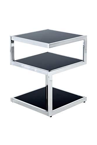 Moderner Beistelltisch in Kubus-Design Oubo 125 Schwarz / Chrom, elegantes Metallgestell , drei separate Ebenen, praktische Ablagen ca. 40cm (L/T) x 40cm (B) x 52,8cm (H) pflegeleicht und stabil