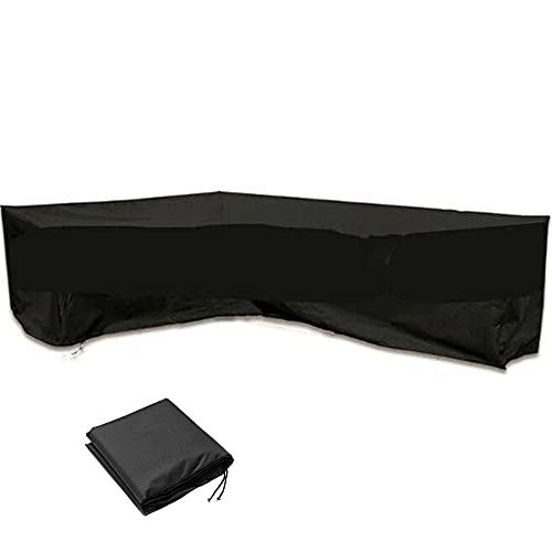 Funda protectora para muebles de jardín en forma de V, impermeable, a prueba de polvo, para exteriores, para sofá de esquina de jardín, con bolsa de almacenamiento, 300 x 300 x 98 cm, color negro