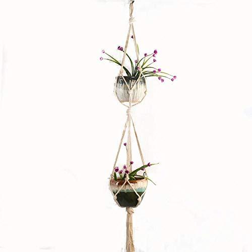 Alvar Makramee Blumenampel Zum Aufhängen Wandbehang Blumentopf Halter Boho Home Decor für Balkon Zimmer Außen und Innen Doppeltes Baumwollseil (Länge 122 cm) Top Ohne Eisenring