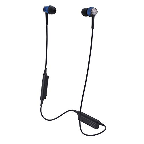 Audio-Technica ATH-CKR55BTBL Sound Reality Bluetooth Wireless In-Ear Headphones with In-Line Mic & Control, Blue