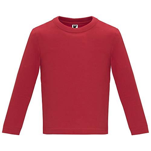Camiseta de Colores con Manga Larga para Bebés - Prenda de algodón 100%, cómoda, Suave, cálida y Tacto Agradable (Rojo, 12M)