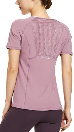 QUEENIEKE Women Yoga Mix & Mesh Short Sleeve T-Shirt Sports Tee Running Top Size M Color Dusty Lavender