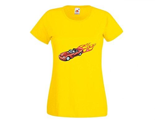 Camiseta con texto 'Roter Cabrio Sportwagen con llamas rojas America Amy USA Auto Car Luxus Ampliación V8 V12 Motor Llanta Tuning Mustang Cobra' para hombre mujer niños 104 – 5 XL amarillo Niños talla: 116 cm