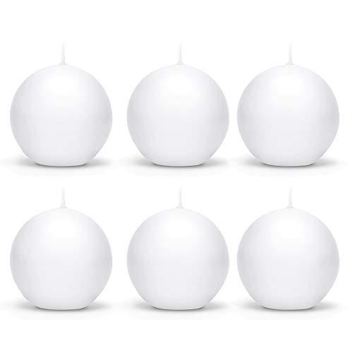 6 Stück Matte Runde Kerzen in Weiß 8cm Kugelkerzen Deko