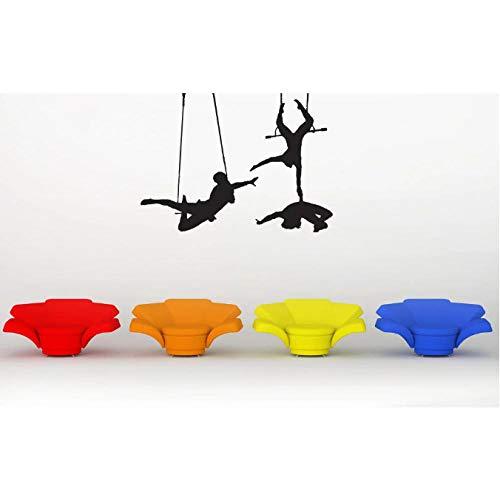 Etiqueta De La Pared/Pegatinas Trapecio Artistas Que Juegan Siluetas De Arte Trapecio Circo Sol Circo Sala De Circo Decoración De Arte 75X99Cm