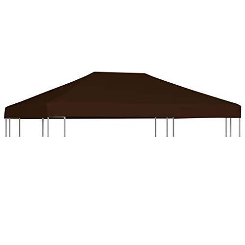 vidaXL Copertura Superiore per Gazebo Resistente Tetto per Tendone Protezione Tenda da Giardino a Strappo Poliestere e PVC 310g/m² 3x4 m Marrone