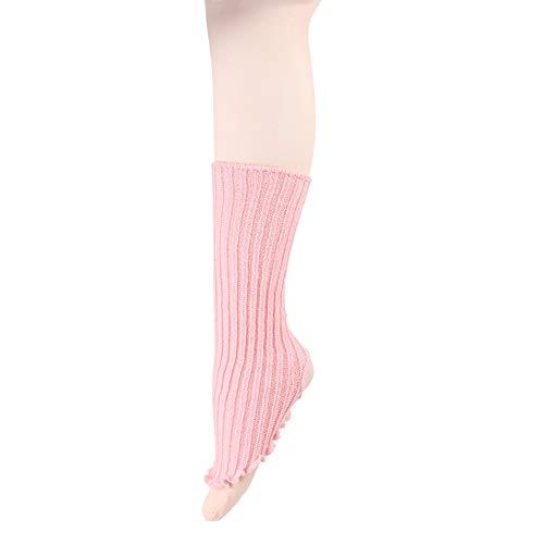 DANCEYOU Calentador de Piernas para Niña Calcetines la Pierna Calentadores de Punto Encima de la Rodilla hasta el Muslo para Mujer Niña Danza Yoga, Rosa