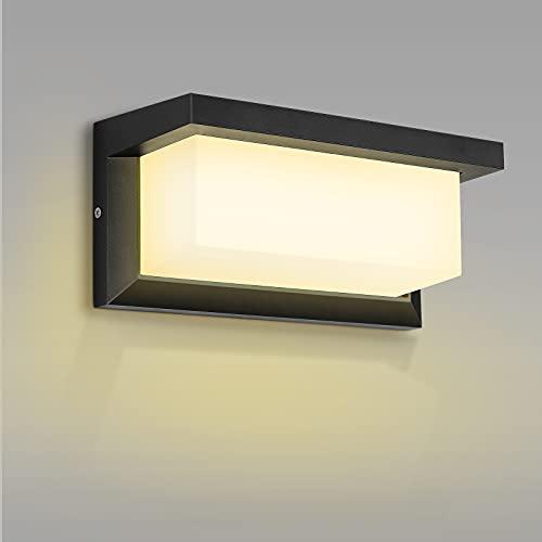 Aplique Exterior LED, MICUTU 18W Moderno IP65 Impermeable Lampara Exterior, Aluminio LED Apliques Exterior Pared, para Balcón Jardín, Porche, Camino, Iluminacion Patio (Blanco cálido)