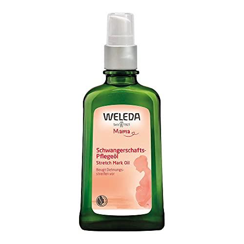 MAMA Schwangerschaft-Pflegeöl von Weleda mit Spender für alle Hauttypen Spar-Set 2x100ml. Beugt Dehnungsstreifen bis 77% vor. Mit wertvollem Mandelöl.