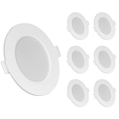 LED Einbaustrahler Ultra flach 6W 230V IP44 Warmweiß 6er Set Einbauleuchten led Einbautiefe 26mm Mini Slim Decken Spot fürBadezimmer Wohnzimmer