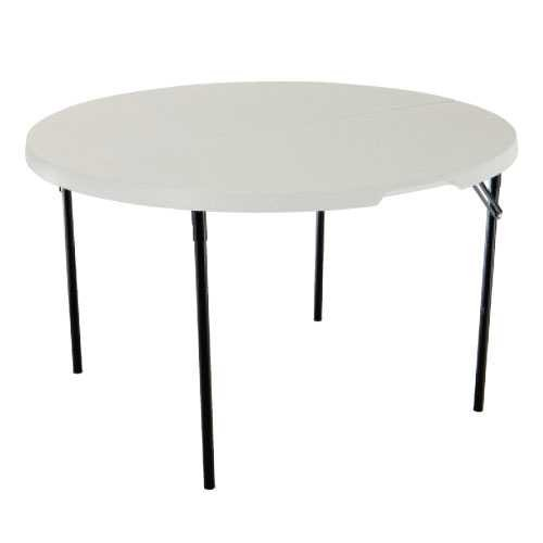 Lifetime 48 In. Round Fold-in-half Plastic Table (White)