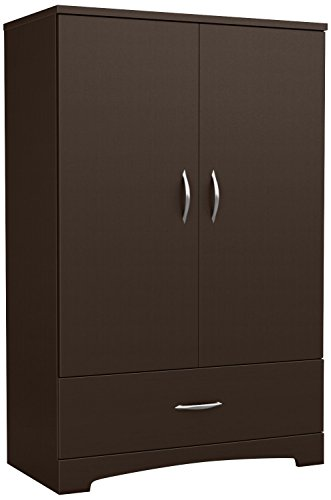 South Shore 2-Door Armoire with Adjustable Shelves and Storage Drawers, Chocolate