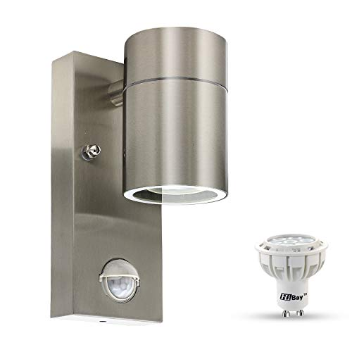HiBay Stainless Steel Outdoor Single Down Wall Light PIR Motion Sensor Security Garden Wall Sconce IP44 Lamp + 7W LED Cool White Bulb 550lm,1 Unit