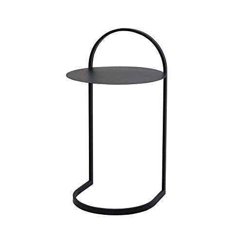 YNN Table Noir 35 * 61cm Multi-Usage d'intérieur de Table de Casse-croûte de côté de côté de Table Ronde Ronde en métal antirouille