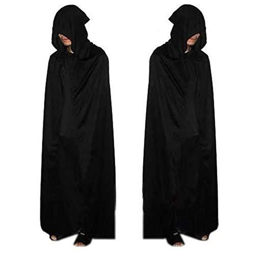 thematys Mantel met capuchon in zwart voor volwassenen - Een stuk polyester Mantel perfect voor Halloween, Carnaval & Cosplay - een maat 160-180cm