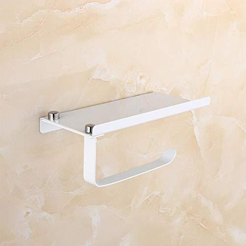 Trihedral-X Baño Papel Soporte for teléfono Estante de Acero Inoxidable Soporte de Papel higiénico de Montaje en Pared teléfonos móviles de Toalla Accesorios de baño Estante (Color : White)