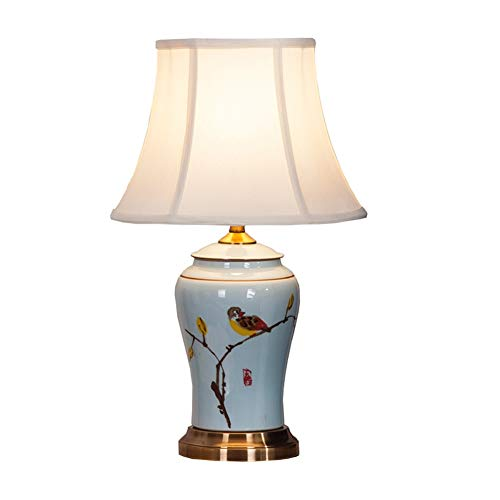 Viqie - Lámpara de mesa de cerámica, estilo retro, de porcelana, china, para dormitorio, mesita de noche, salón, estudio, cobre