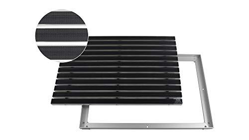 EMCO Eingangsmatte DIPLOMAT Gummi schwarz 22mm + ALU Rahmen Schmutzfangmatte Fußabtreter Antirutschmatte, Größe:1000 x 500 mm