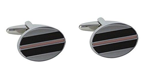 LINDENMANN Lack Manschettenknöpfe schwarz rosa silbern oval + Geschenkbox