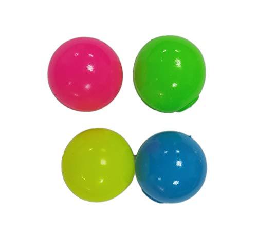 Pandiui23 4 Pcs Globbles pegajosos, Bola para aliviar el estrés, 4 Colores Juguetes de Descompresión, Bolas Fluorescentes Stickytarget, Juguete Antiestrés de Bola para Adultos y Niños (45mm)