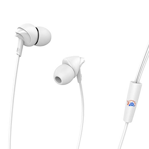 11b5fcea482 boAt Chennai Super Kings Edition Bassheads 100 Wired Earphone with in-line  Mic (White