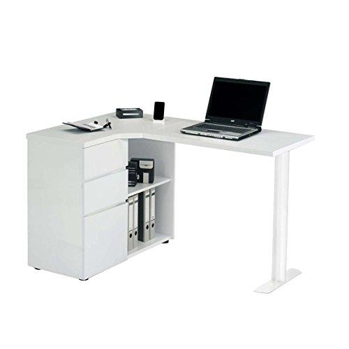 Jahnke CU-LIBRE 115 E WS/WS T.1-2 Laptop-Ecktisch, E1-Spanplatten, melaminharzbeschichtet, Metall pulverbeschichtet, weiß, 130 x 90 x 77 cm