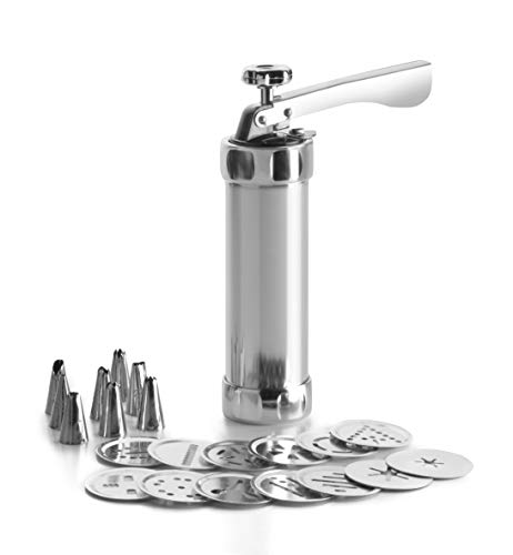 Ibili - Churrera, máquina de pastas, acero inoxidable, incluye 13 discos y 8 boquillas, churros rellenos, aluminio, 22 cm