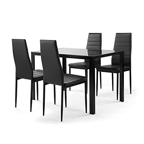 Oven El Juego de Mesa de Comedor de Cocina de 5 Piezas Incluye 1 Mesa de Cristal Templado + 4 sillas de Marco de Metal de Piel sintética Ideal para Barra de Cocina y Comedor