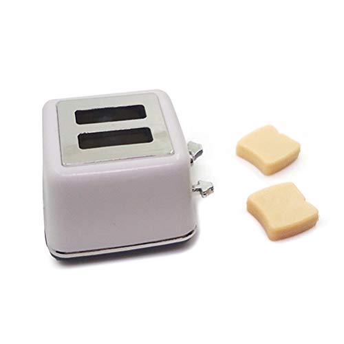 Wiivilik 1/12 Skala-Puppe-Haus Mini Brot-Maschine Miniatur-Toaster mit Toast Miniatur-Puppenküchenzubehör Dekoration Kindern Pretend Spielzeug Spielen