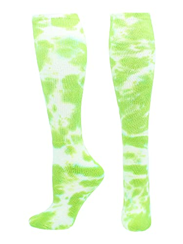 Tie Dye Multisport Tube Socks (Lime Green/White, Small)