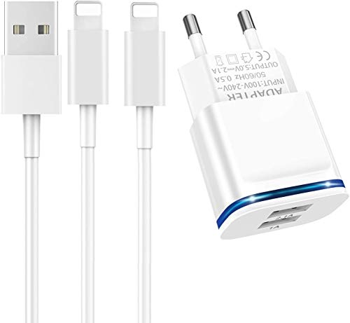 LUOATIP Carica Batteria, 2.1A/5V Presa Spina USB Muro Caricatore Caricabatterie + 1M Cavetto Cavo Ricarica Batteria Charger Filo Alimentatore for iPhone 11 XR XS Max X 8 7 6S 6 Plus 5S