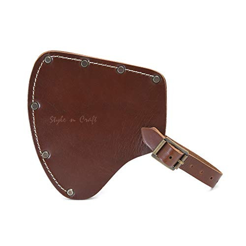 Style N Craft 98027 - Camper's Axe Sheath in Dark Tan Heavy Top Grain Leather