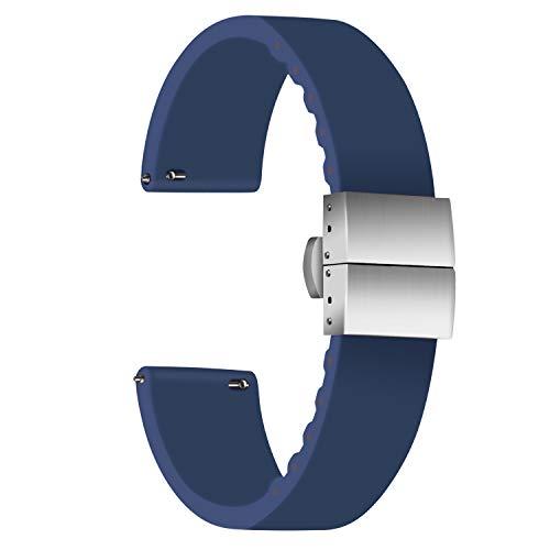 ULLCHRO Unisex Kautschuk Armband mit Edelstahl Silber Faltschließe 20mm, Navy Blau