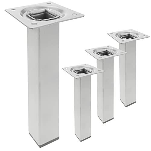 PrimeMatik - Pies Cuadrados para Mesa y Mueble. Patas en Acero Gris de 25cm 4-Pack